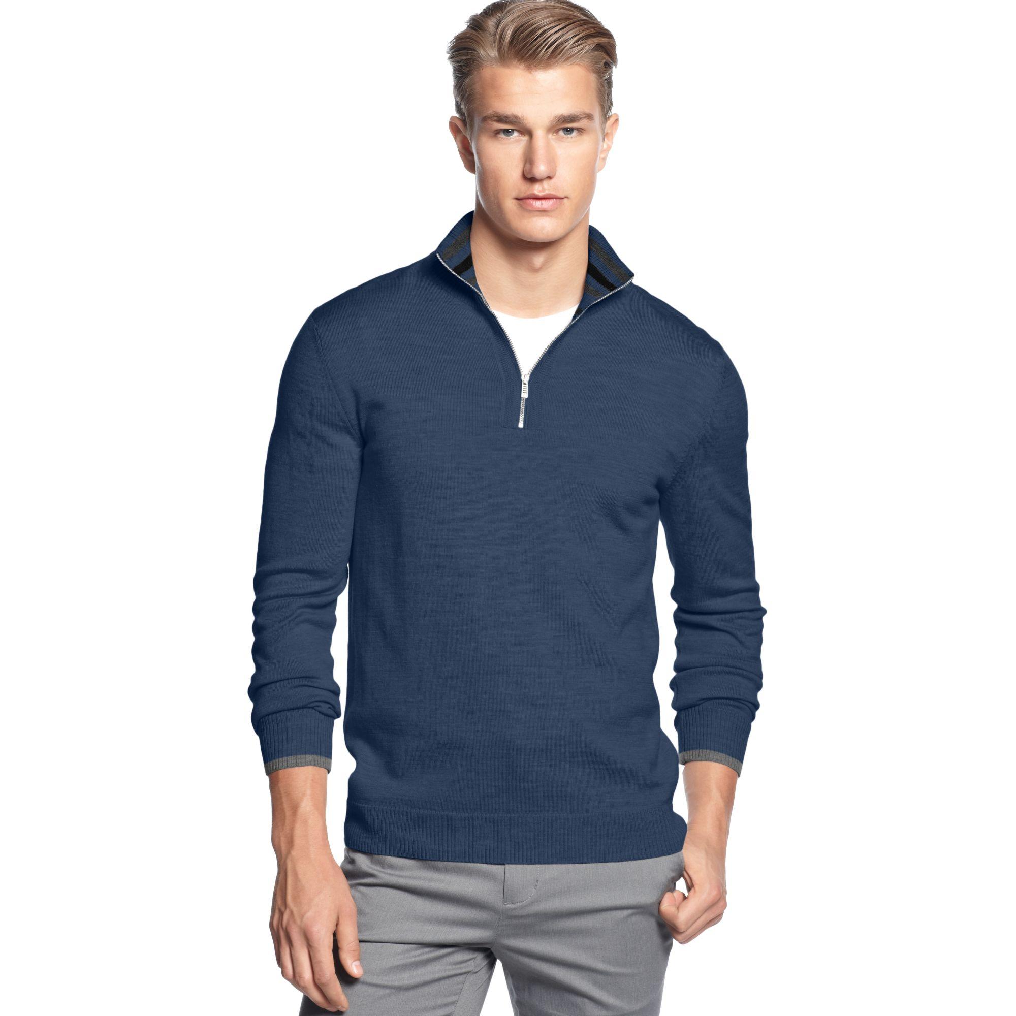 lyst calvin klein quarter zipper merino mock sweater in. Black Bedroom Furniture Sets. Home Design Ideas