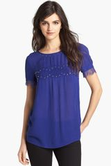 Ella Moss Embellished Lace Trim Top - Lyst
