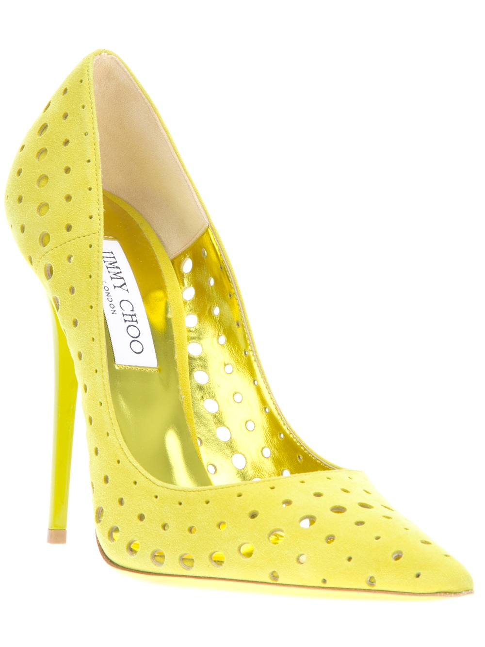 Jimmy choo Perforated Pumps in Yellow | Lyst