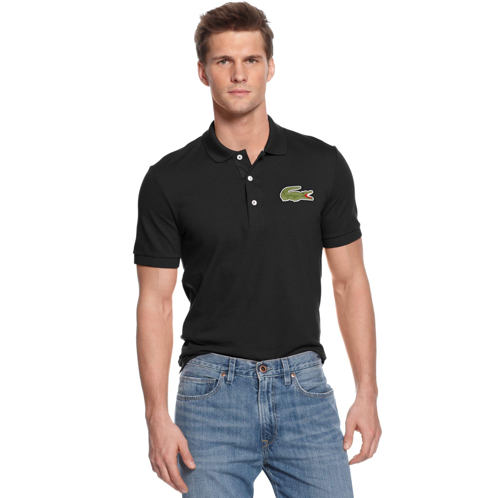 94c0927f1247 Lyst - Lacoste Oversized Crocodile Pique Polo in Black for Men