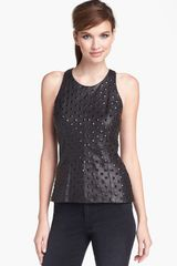 Milly Studded Leather Front Tank - Lyst