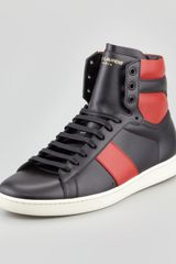 Saint Laurent Twotone Leather Hightop Sneaker - Lyst