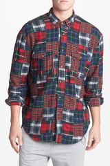 Topman Patchwork Plaid Shirt - Lyst