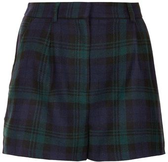 Topshop Blackwatch Checkered Wool Shorts - Lyst