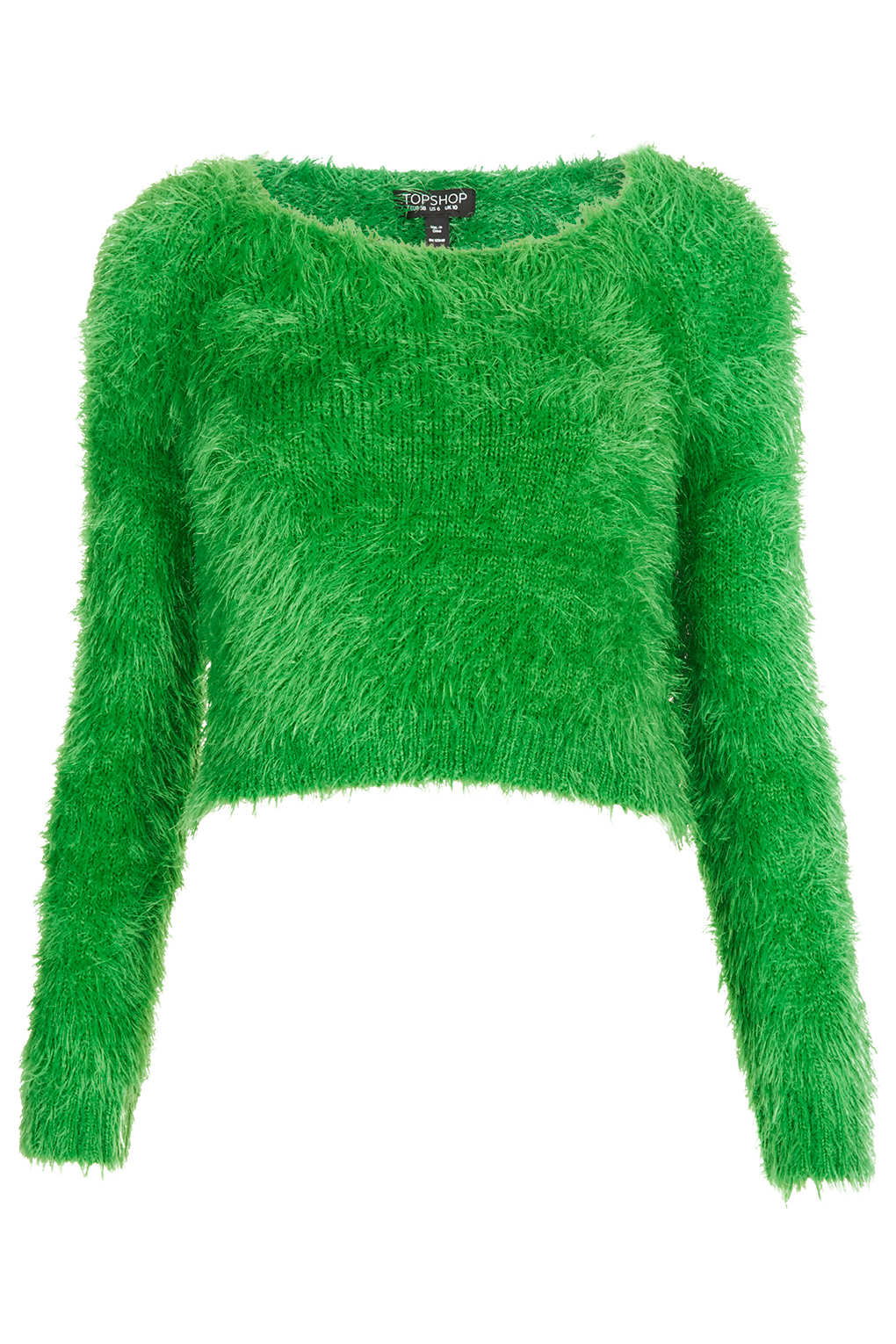 Knitting Pattern Fluffy Jumper : Topshop Knitted Fluffy Crop Jumper in Green Lyst