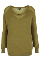 Topshop Knitted Sheer Solid Jumper - Lyst