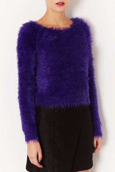 Knitting Pattern Fluffy Jumper : Topshop Knitted Fluffy Crop Jumper in Purple Lyst