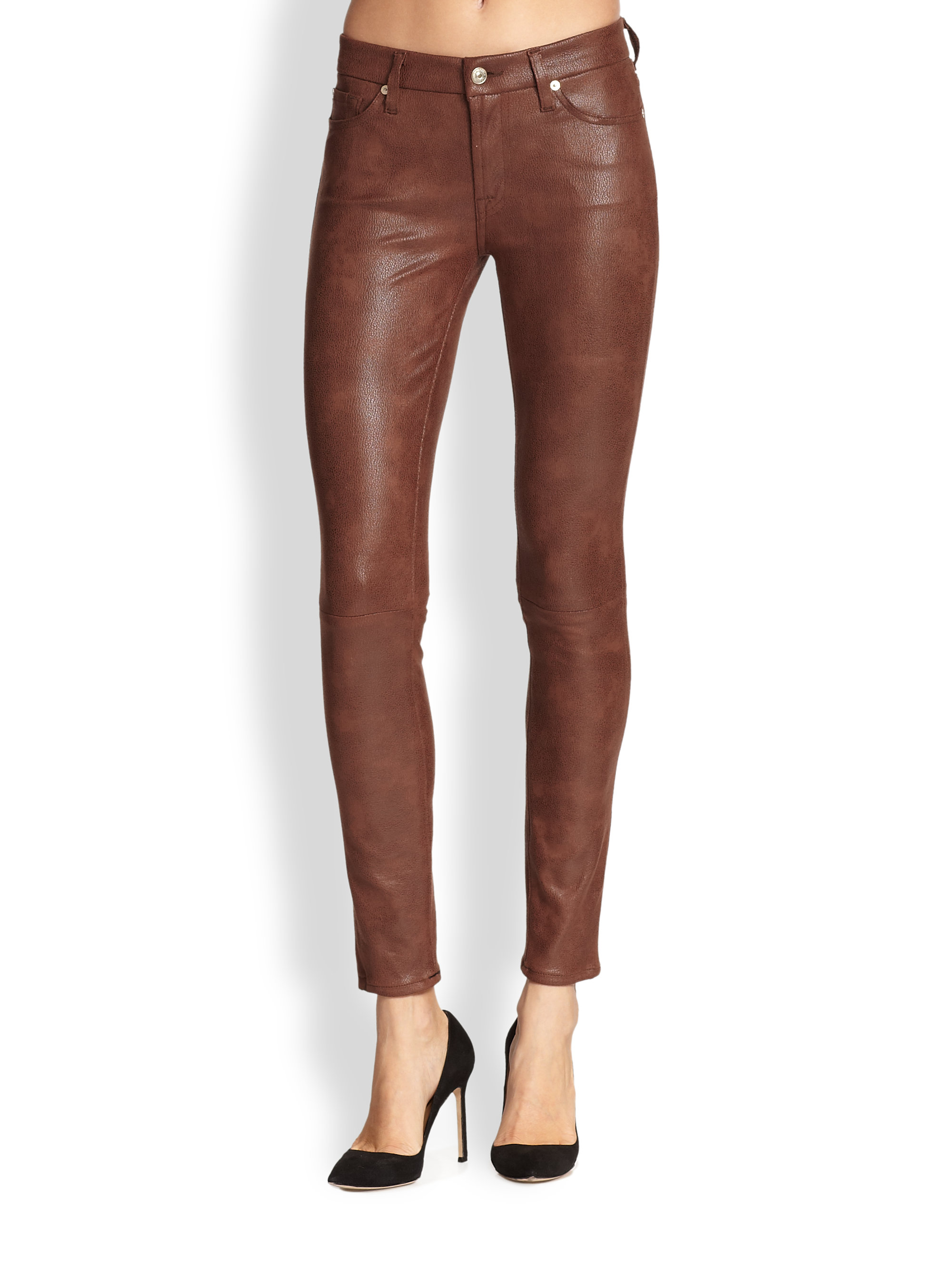7 for all mankind coated skinny jeans in brown lyst. Black Bedroom Furniture Sets. Home Design Ideas