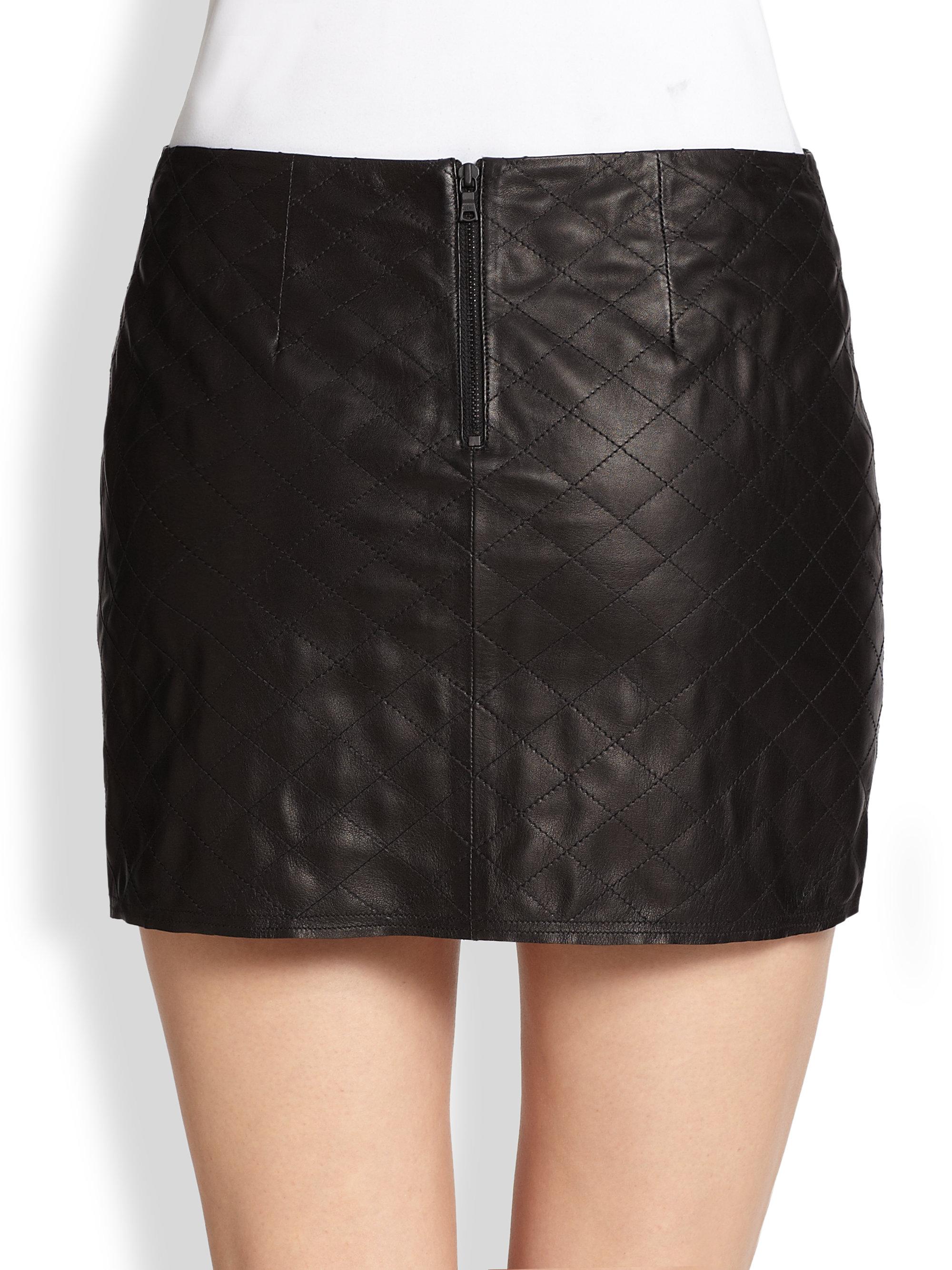 Alice   olivia Brigitta Quilted Leather Mini Skirt in Black | Lyst