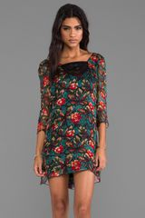 Anna Sui Fauve Floral Print Gauze Dress in Green - Lyst