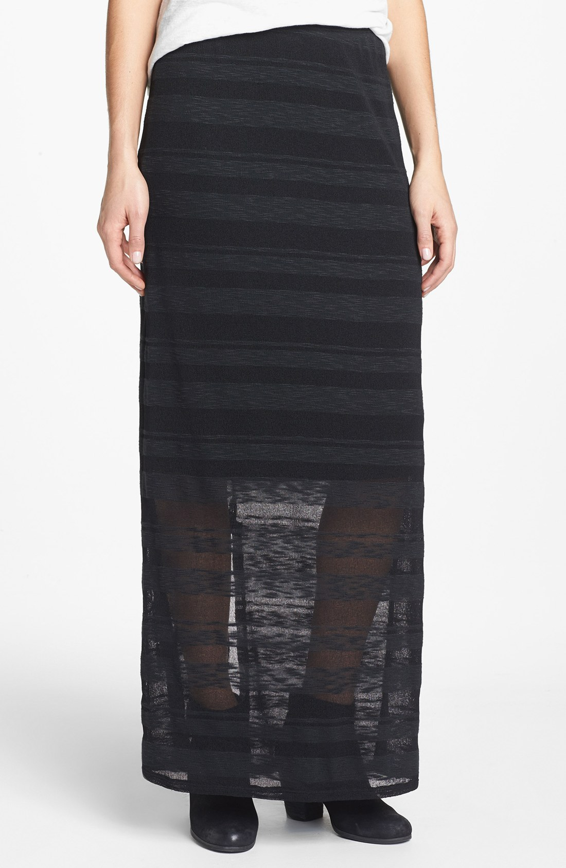 bobeau sheer stripe maxi skirt in black lyst