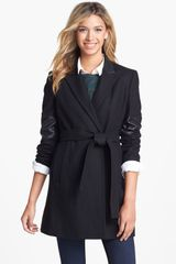 Calvin Klein Faux Leather Trim Wool Blend Coat - Lyst