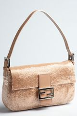 Fendi Peach Beaded Mini Baguette Shoulder Bag - Lyst