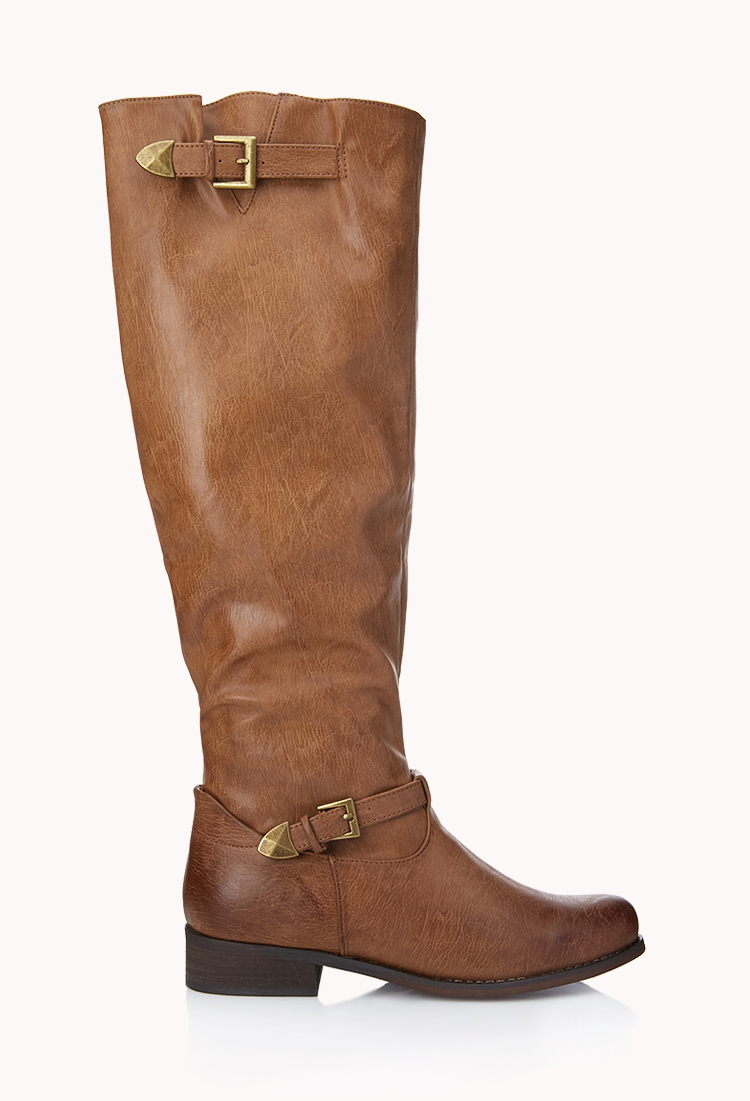 Lyst Forever 21 Citychic Buckle Boots In Brown