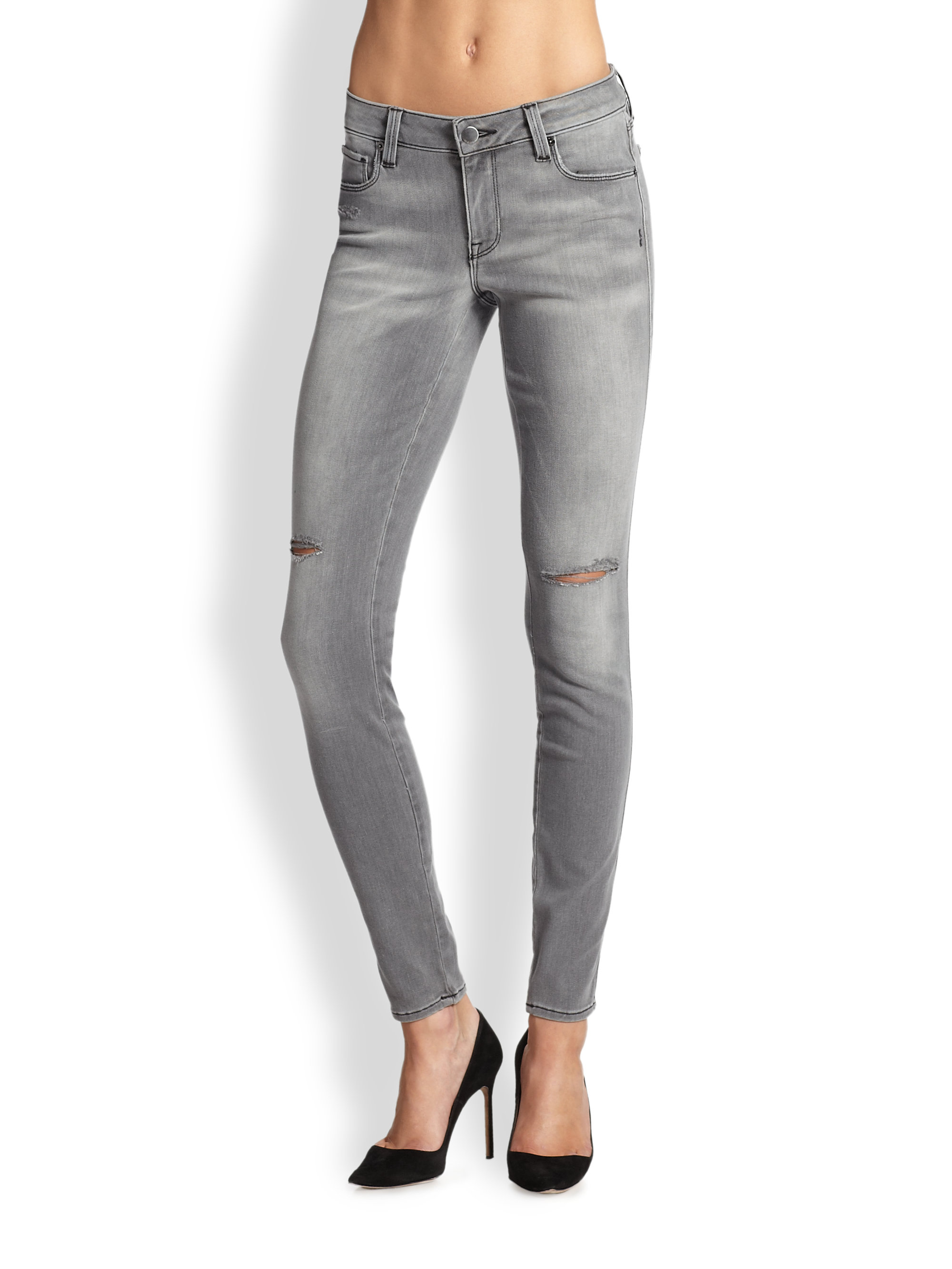 Genetic denim Shiya Cigarette Distressed Jeans in Gray | Lyst