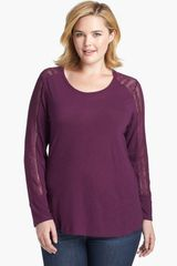 Lucky Brand Bobbi Lace Inset Top - Lyst
