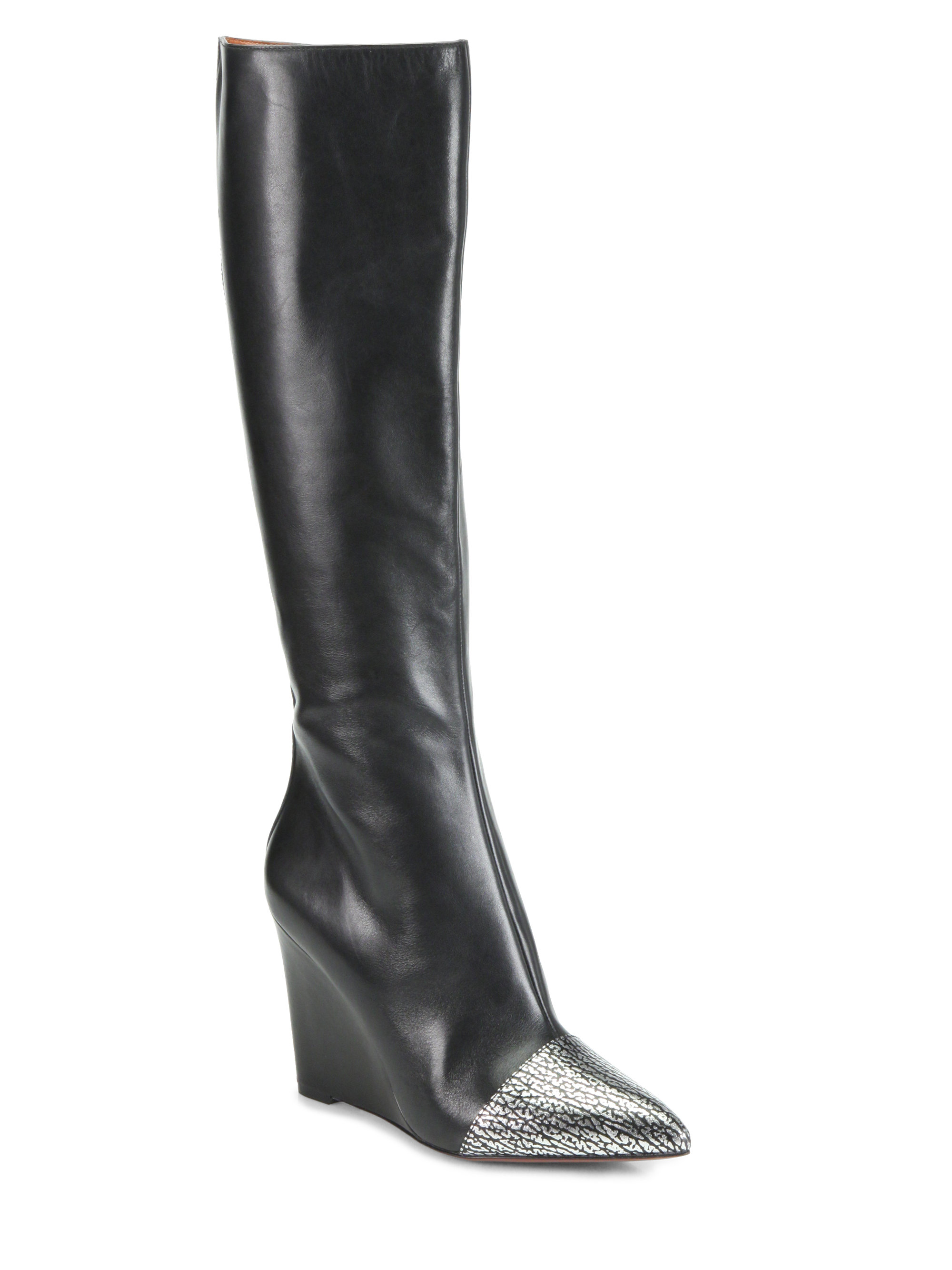 marc by marc on point leather wedge boots in silver