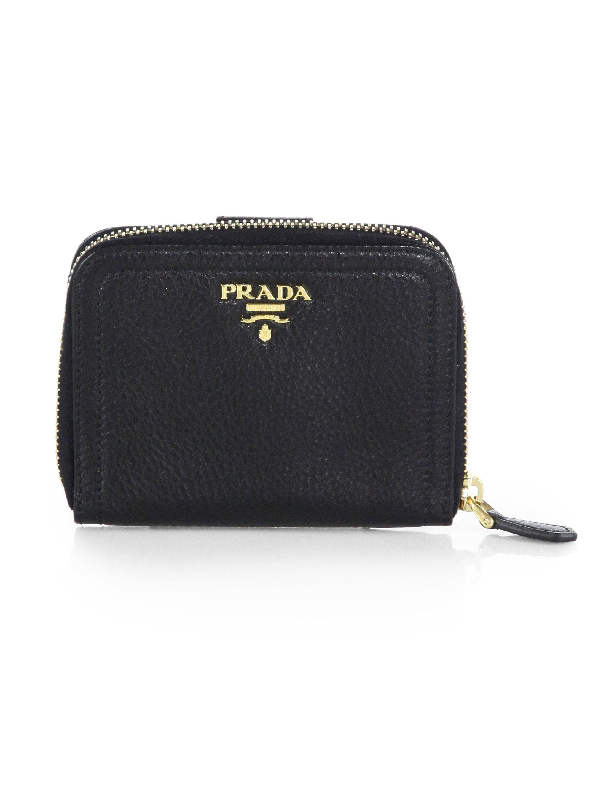 Prada Daino Small Zip Around Leather Wallet in Black | Lyst