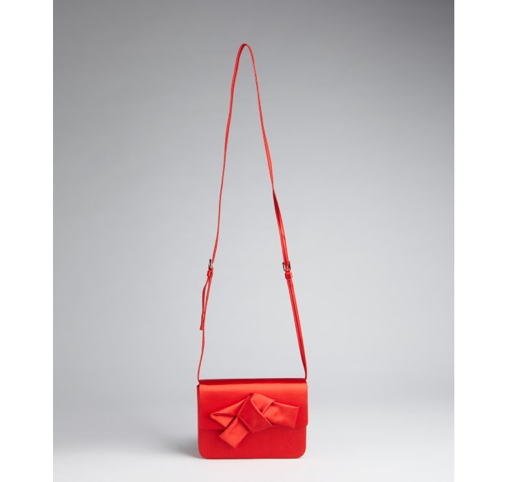 Prada Red Satin Bow Mini Shoulder Bag in Red | Lyst
