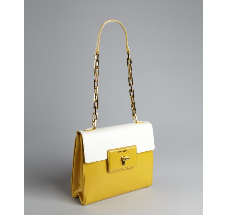 Lyst Prada Golden Rod And White Crosshatched Leather
