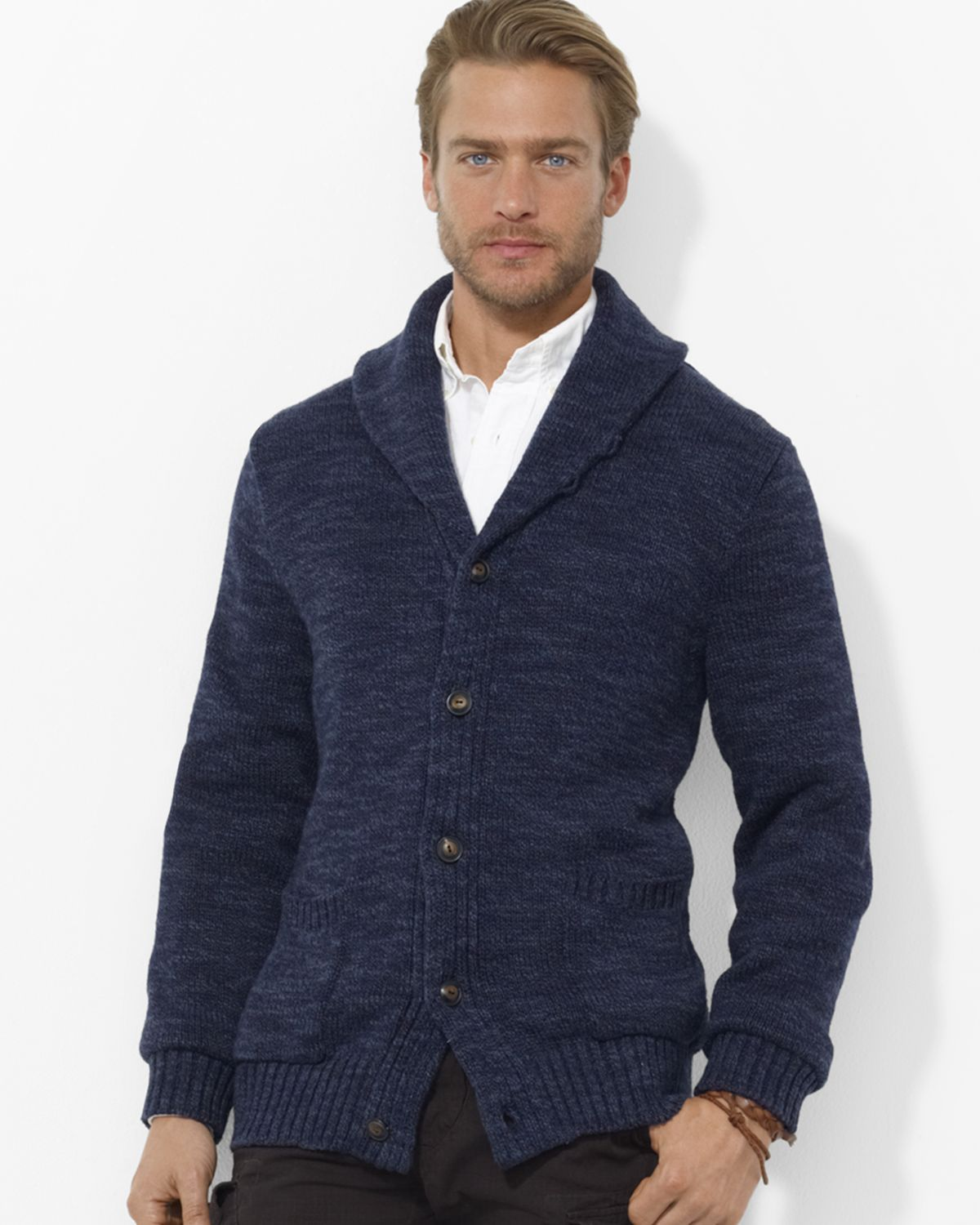 Ralph lauren Polo Carded Cotton Shawl Cardigan in Blue for Men | Lyst