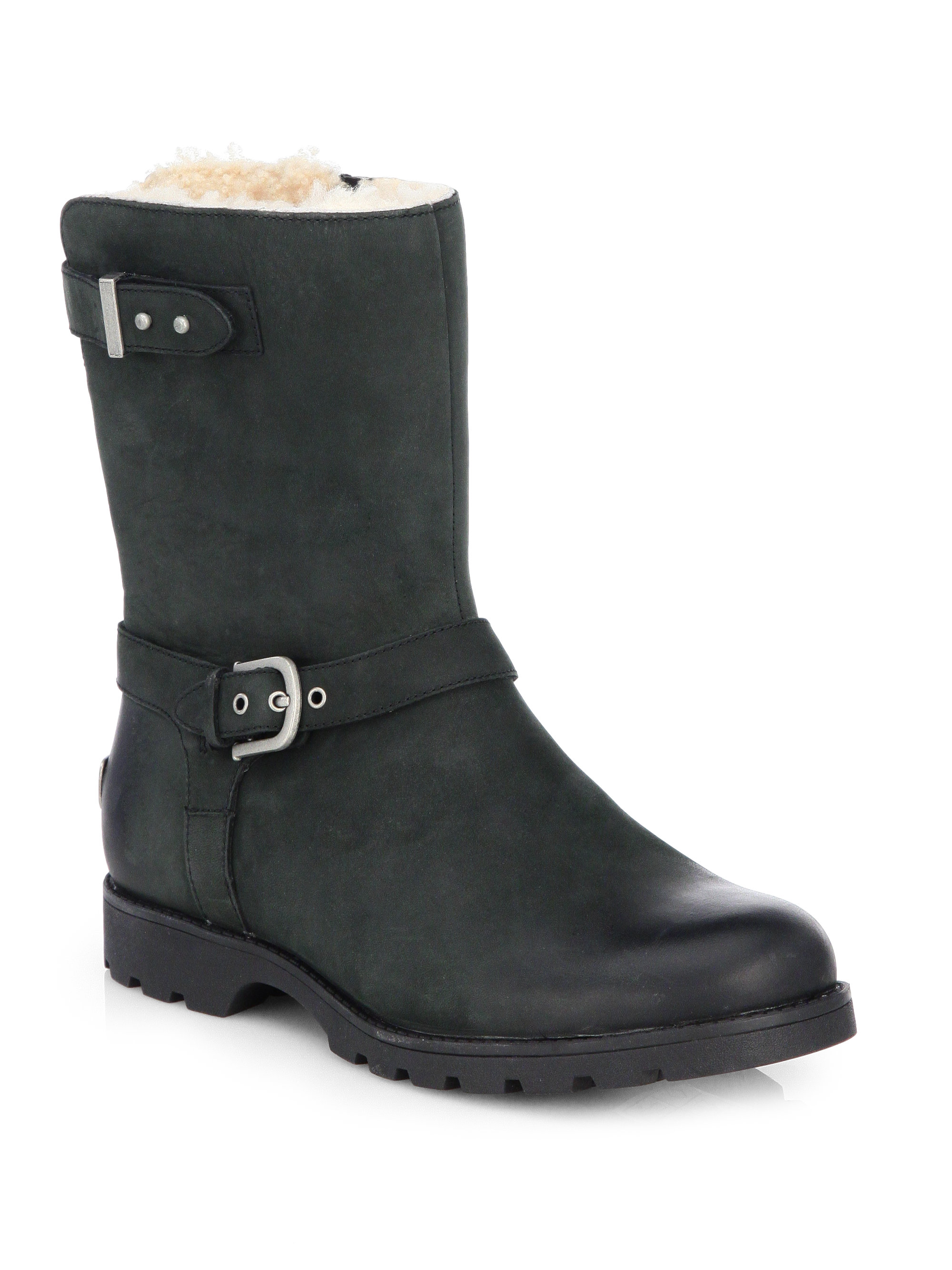 ugg grandle leather motorcycle boots in black lyst