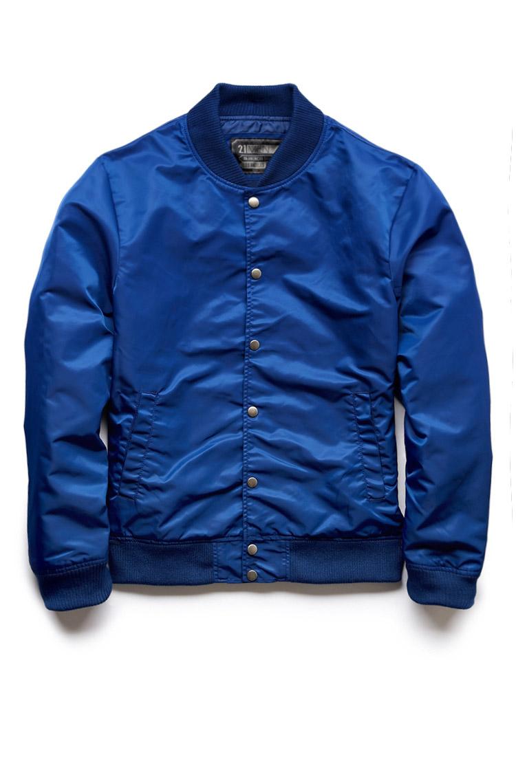 Forever 21 Everyday Bomber Jacket in Blue for Men | Lyst