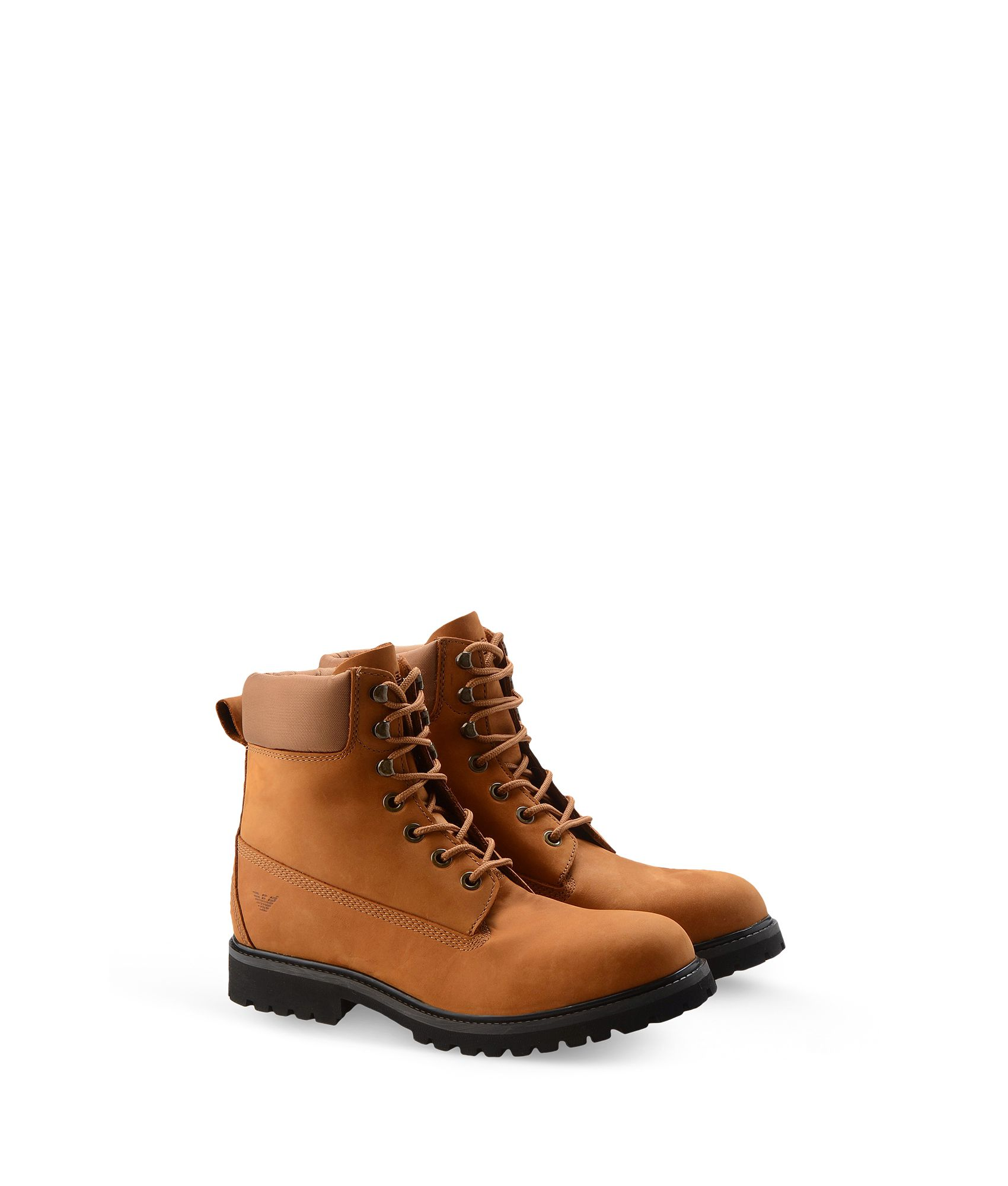 lyst armani jeans combat boots in brown for men