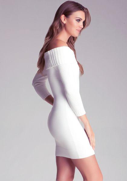 Bebe Off Shoulder Sweater Dress In White