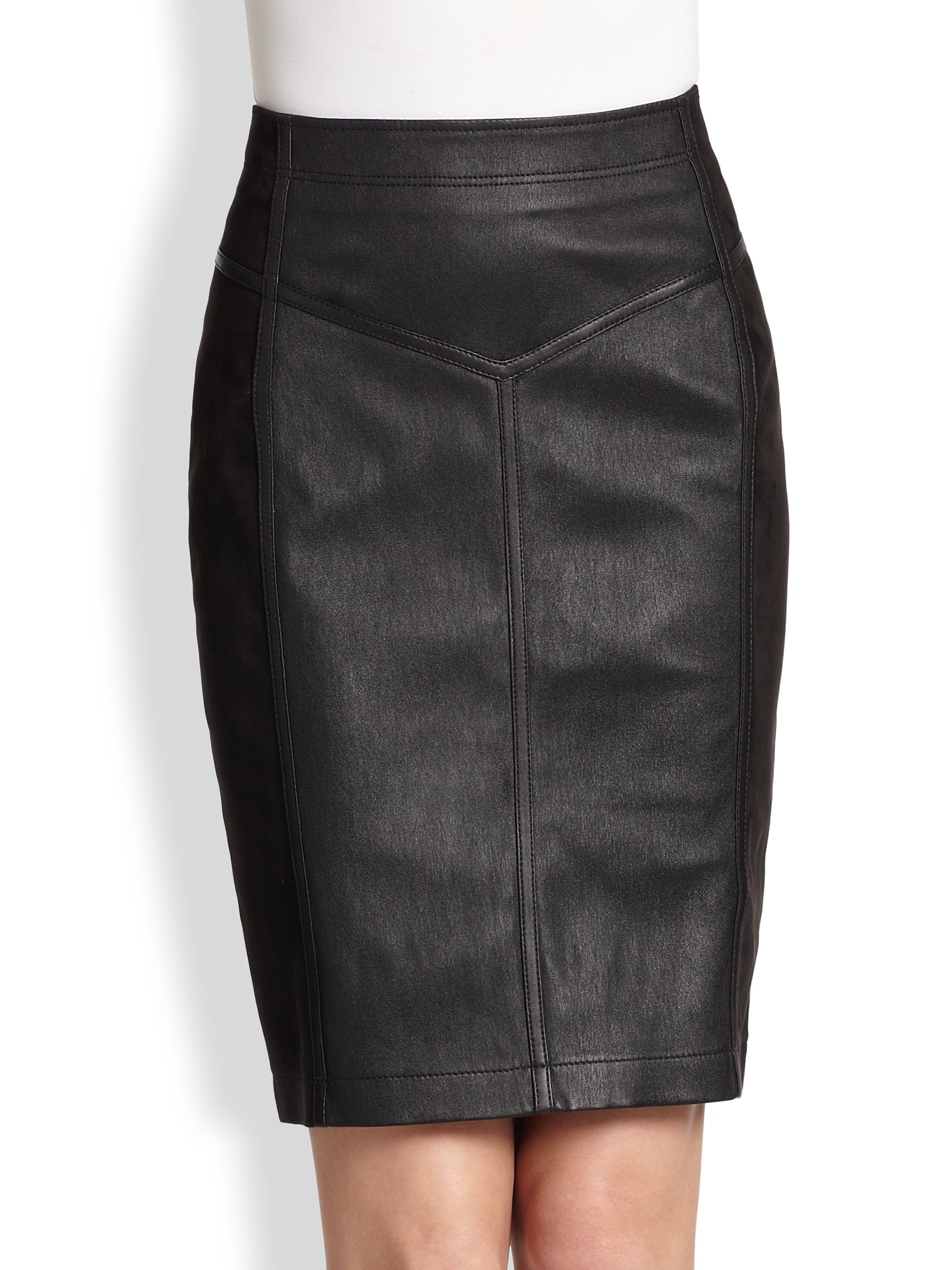Burberry Brit Leather Suede Skirt in Black | Lyst