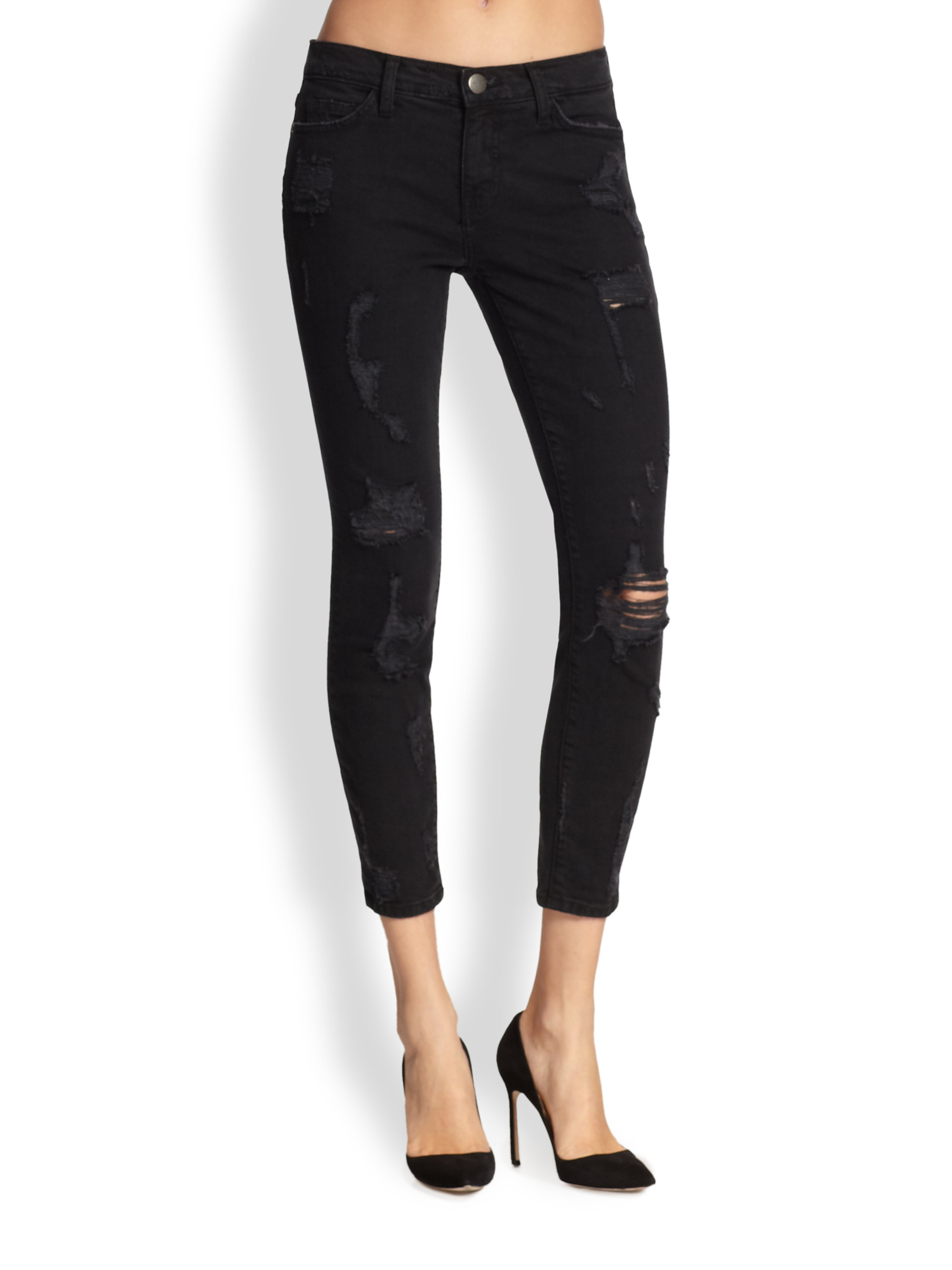 Current/elliott Stiletto Shredded Cropped Skinny Jeans in Black   Lyst