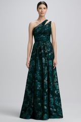 David Meister Signature One shoulder Print Gown - Lyst