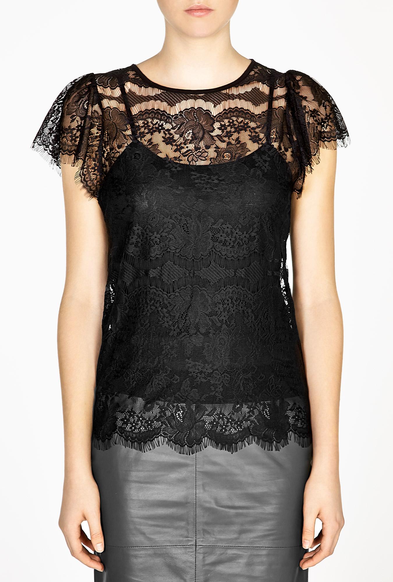 day birger et mikkelsen night twilight lace top in black. Black Bedroom Furniture Sets. Home Design Ideas