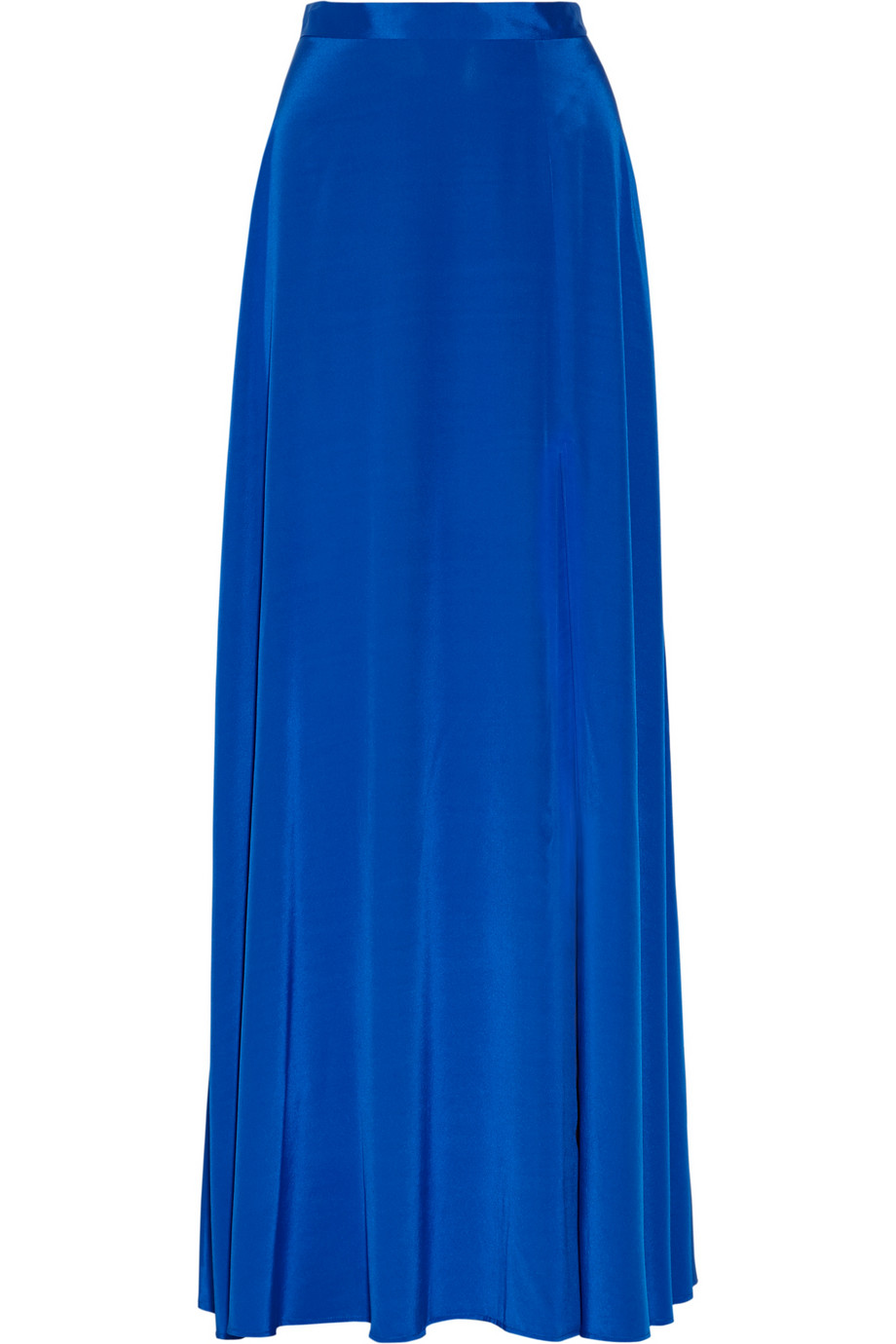 dkny stretch silk crepe de chine maxi skirt in blue lyst