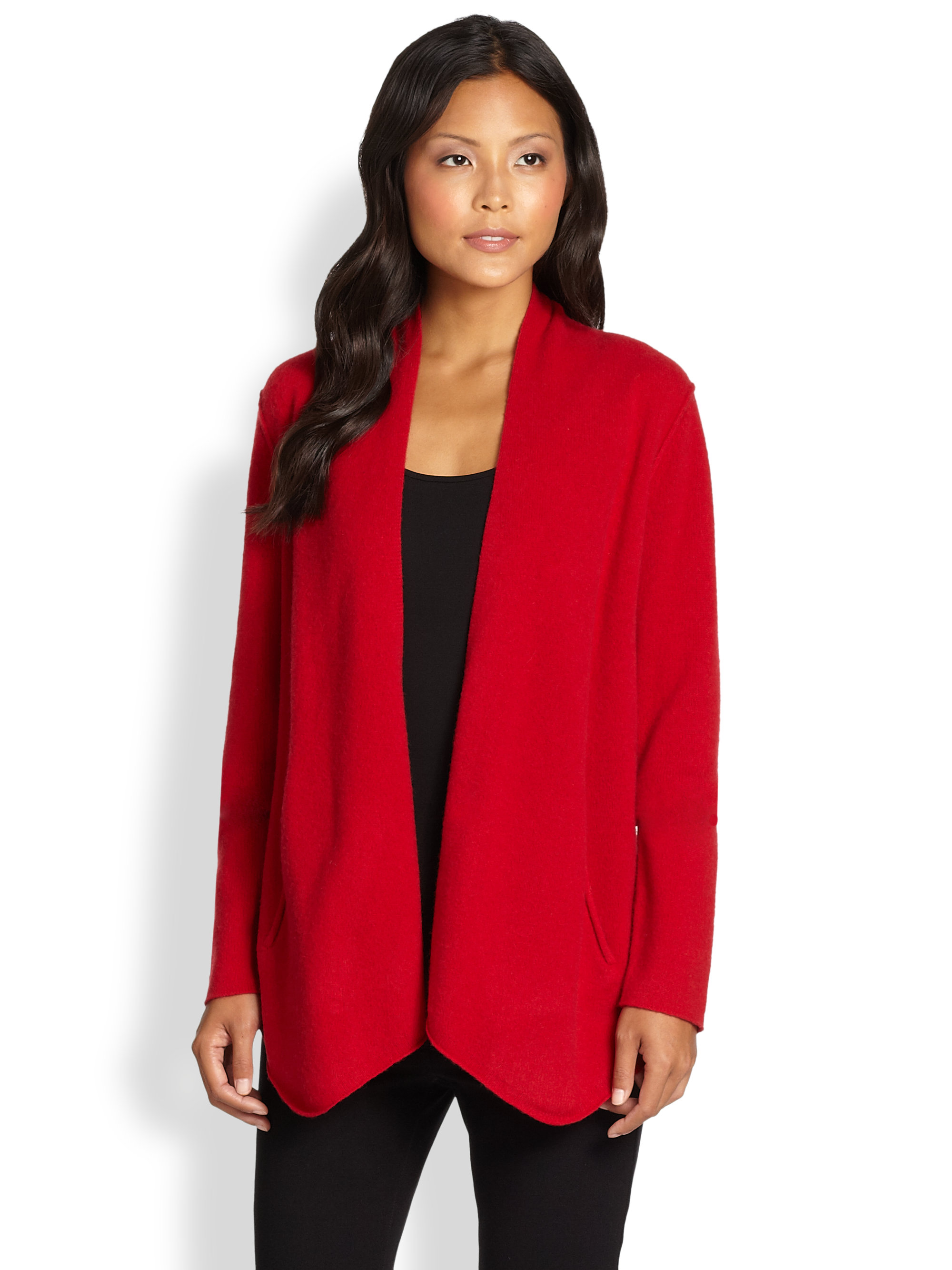 Eileen fisher Felted Wool Sweater Jacket in Red | Lyst