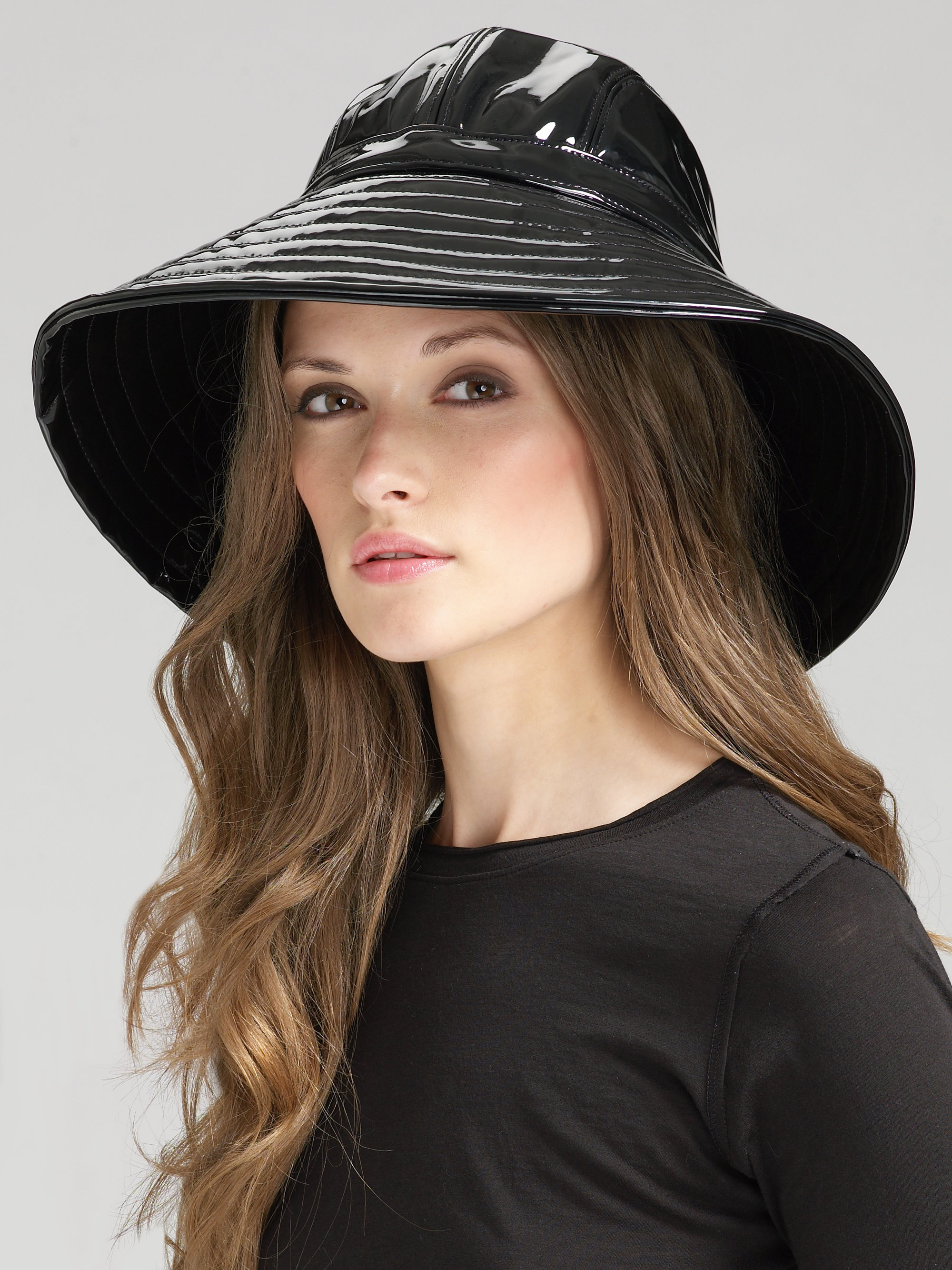 Lyst Eric Javits Patent Rain Hat In Black