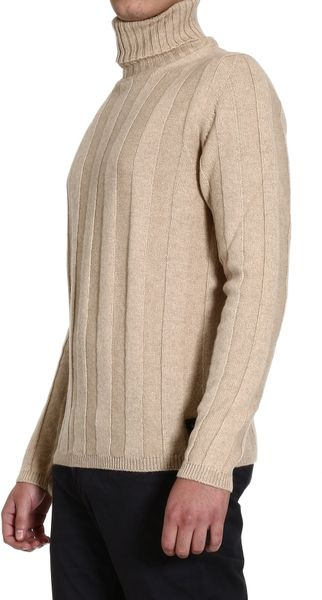 Fendi Sweater Turtleneck Large Ribbed Wool In Beige For