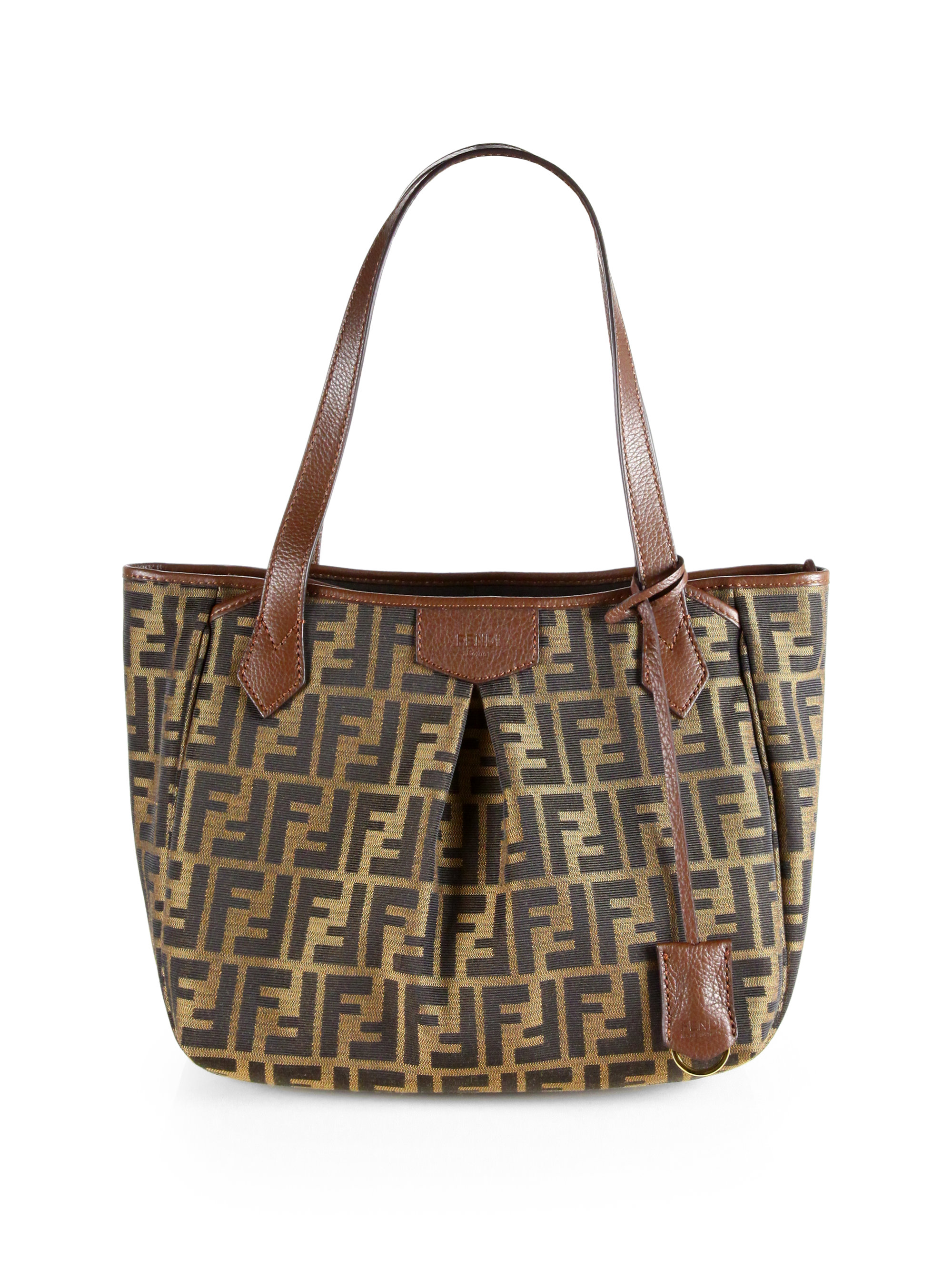 9e8f0cddb9db Lyst - Fendi Zucca Small Pleated Shopper in Brown