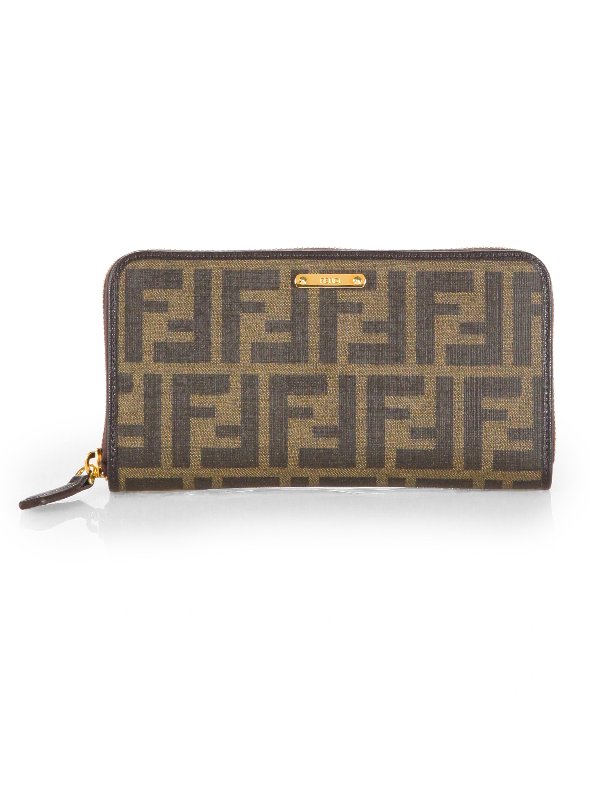 0b2a4e84bea3 ... good fendi zucca zip around wallet in brown lyst 35e2b dacef