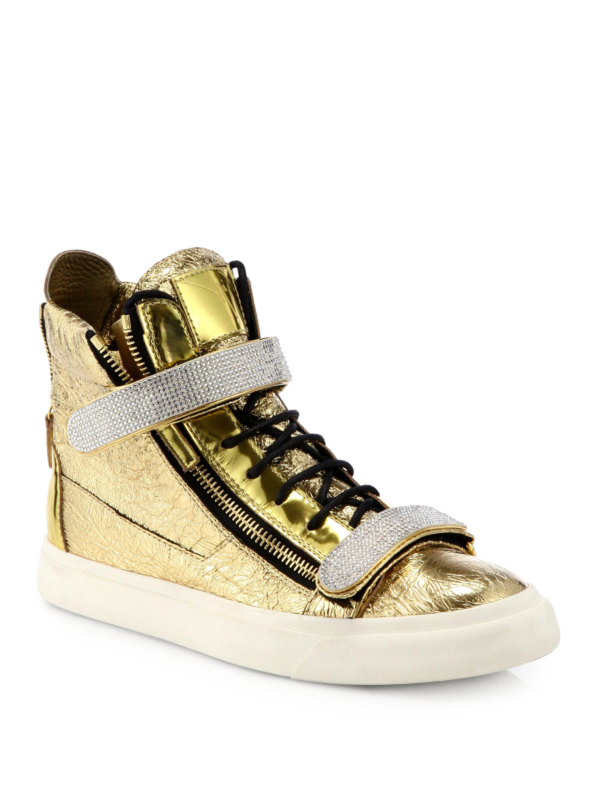 giuseppe zanotti foiled leather hightop sneakers in metallic for men lyst. Black Bedroom Furniture Sets. Home Design Ideas