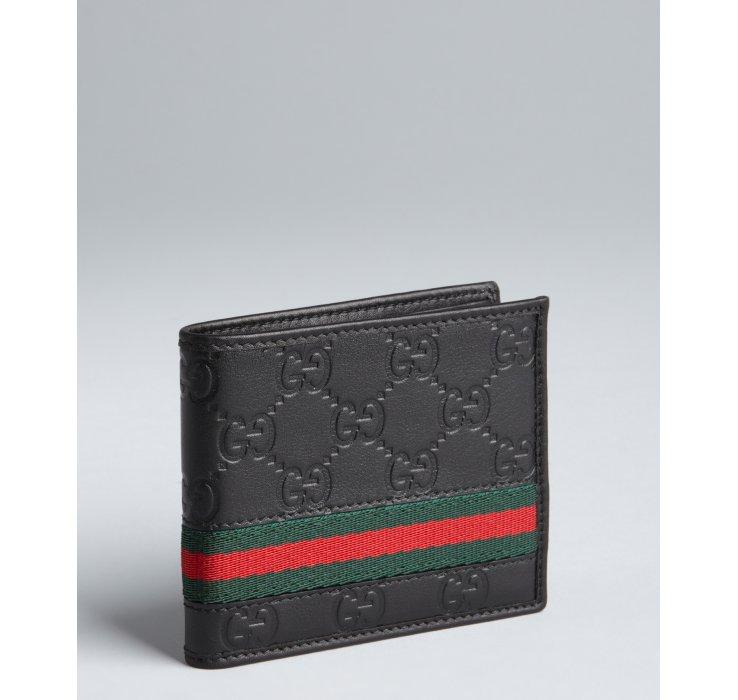 Gucci Black Gg Plus Leather Web Stripe Bifold Wallet In