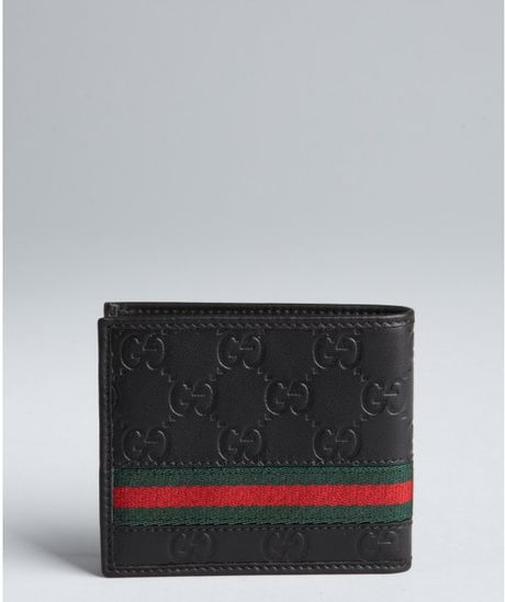 Gucci Black Gg Plus Leather Web Stripe Bifold Wallet In