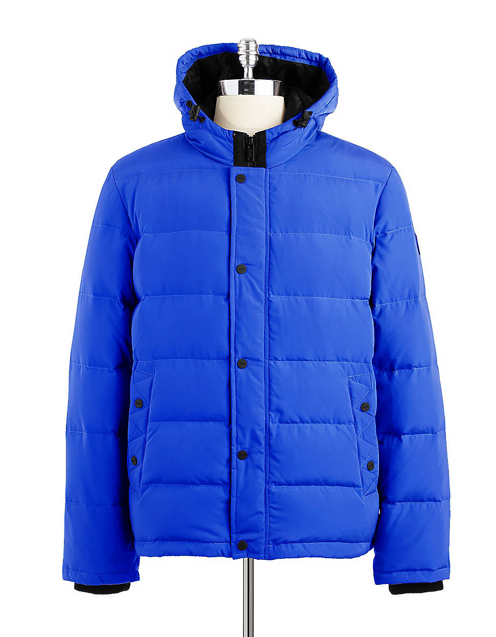 Guess Hooded Down Puffer Coat In Blue For Men Lyst