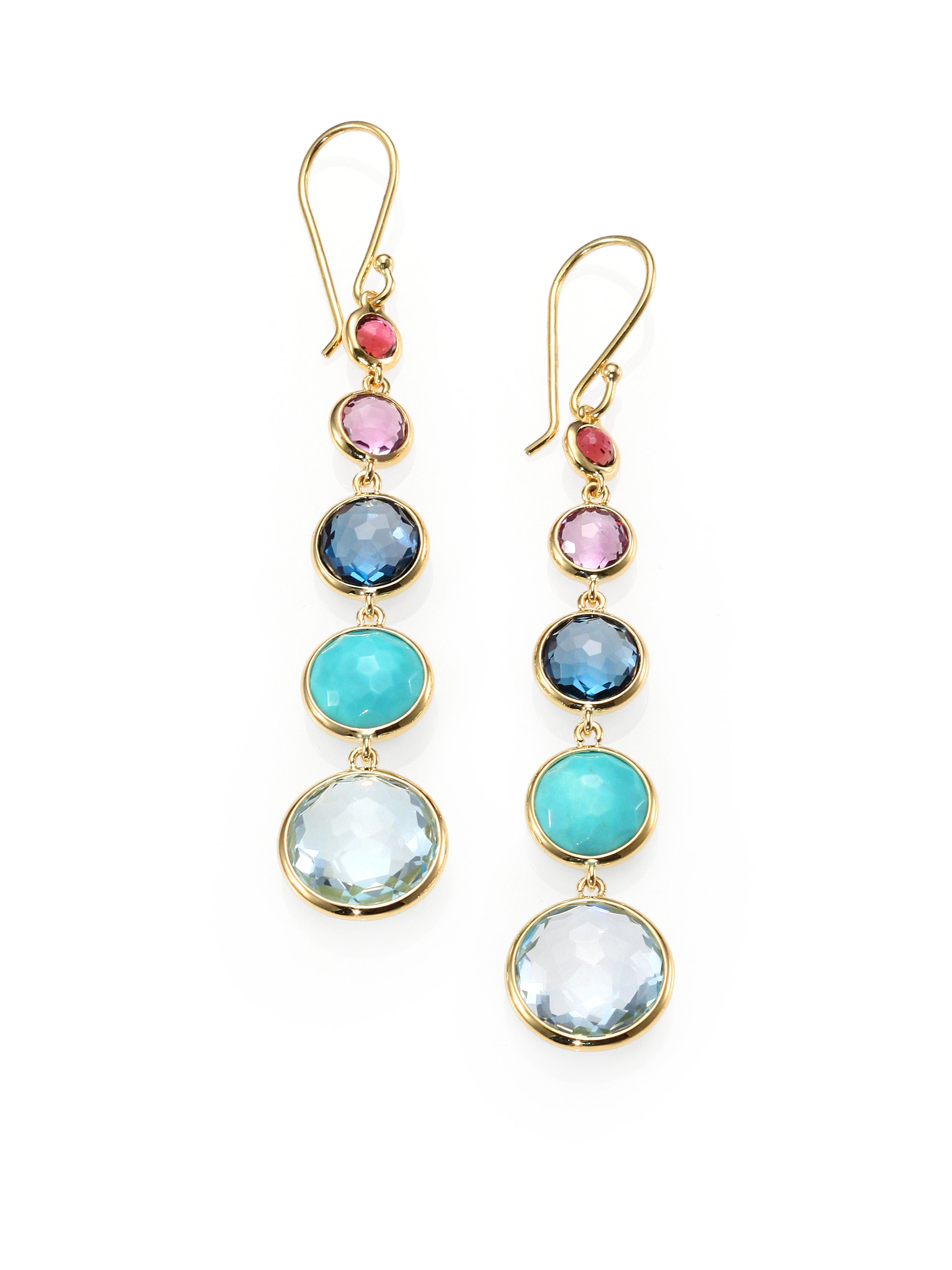 Ippolita 18k Lollipop Three-Stone Drop Earrings in Pacific htsFZ5jJ