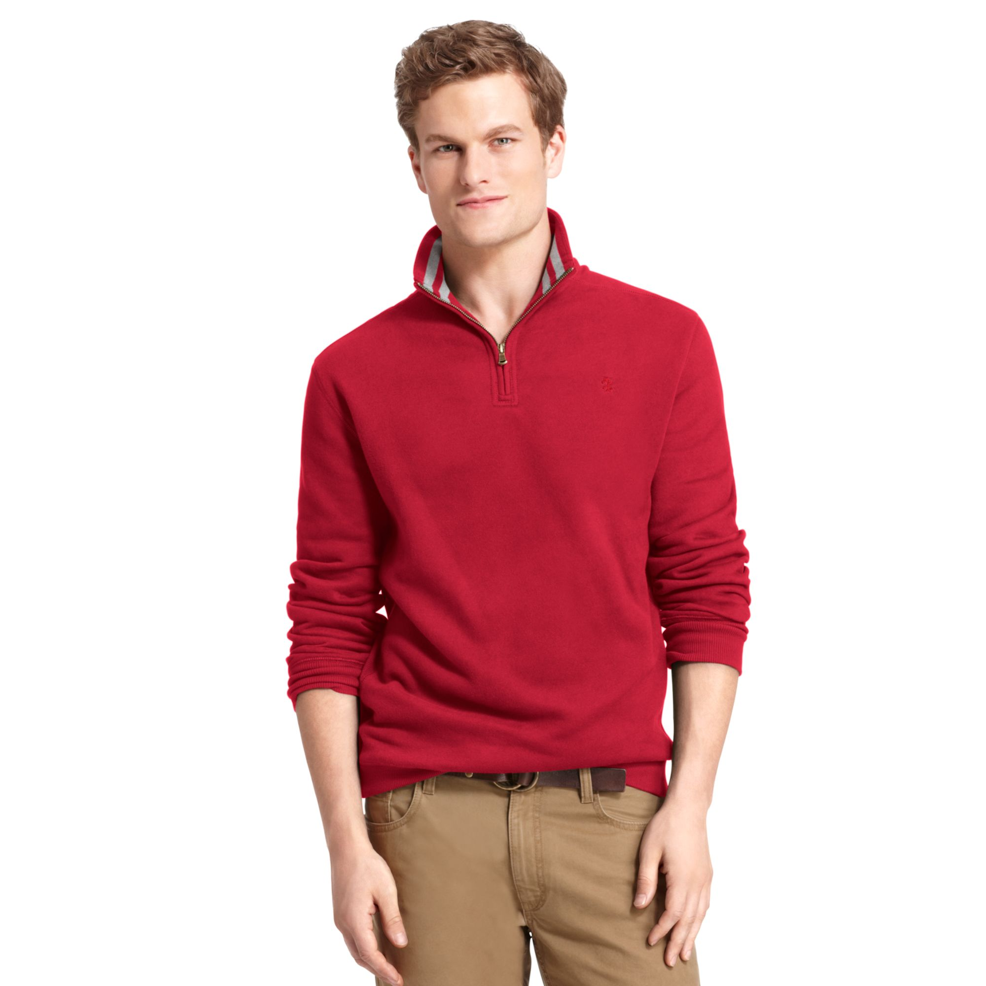 Izod Big And Tall Shirt Sueded Fleece Pullover In Red For