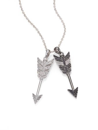 Jade Jagger Black Diamond White Diamond and Sterling Silver Double Arrow Necklace - Lyst