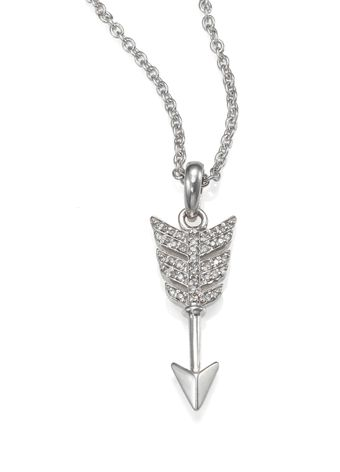 Jade Jagger Diamond and Sterling Silver Small Arrow Necklace - Lyst