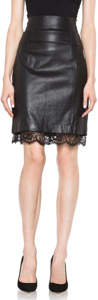 Lover Sphinx Sheepskin Leather Pencil Skirt - Lyst