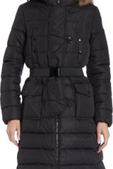 Moncler Fur-trimmed Hooded Long Puffer Coat - Lyst