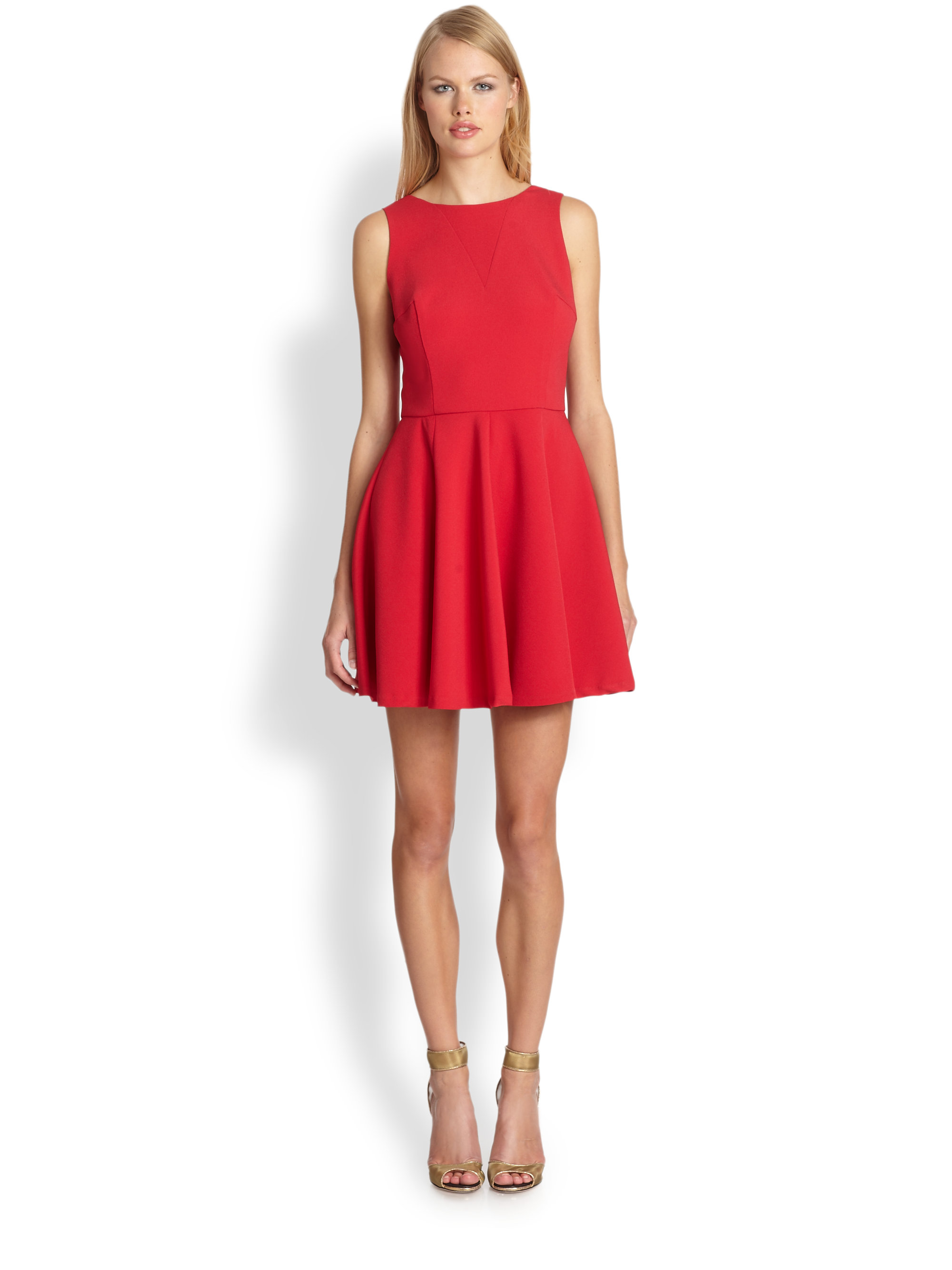 Nicole Miller Satin Crepe Fit And Flare Dress In Red Lyst